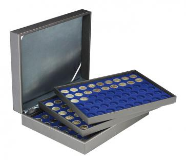 LINDNER 2365-2154ME Nera M Münzkassetten 3 x Einlagen Marine Blau 162 Fächer für Münzen bis 25, 75 mm ideal für 2 Euro