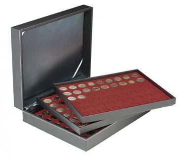 LINDNER 2365-2754E Nera M Münzkassetten 3 x Einlagen Dunkelrot Rot 162 Fächer für Münzen bis 25, 75 mm ideal für 2 Euro