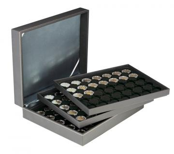 LINDNER 2365-2530CE Nera XL Münzkassetten mit 3 Einlagen Carbo Schwarz für 105 x Münzen bis 32 mm für 2 Euro in Münzkapsseln 26