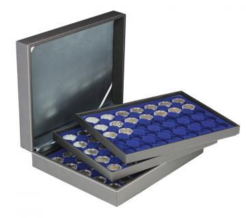 LINDNER 2365-2530ME Nera XL Münzkassetten mit 3 Einlagen Marine Blau für 105 x Münzen bis 32 mm für 2 Euro in Münzkapsseln 26