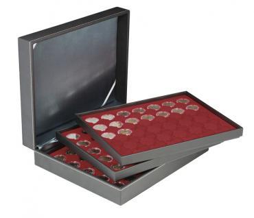 LINDNER 2365-2930E Nera XL Münzkassetten mit 3 Einlagen Dunkelroten Rot für 105 x Münzen bis 32 mm für 2 Euro in Münzkapsseln 26