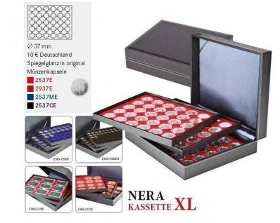 LINDNER 2365-2537CE Nera XL Münzkassetten Einlagen Carbo Schwarz 90 x Münzen bis 37 mm & 10 & 20 Euro DM in orig Münzkapseln 32, 5 PP - Vorschau 5