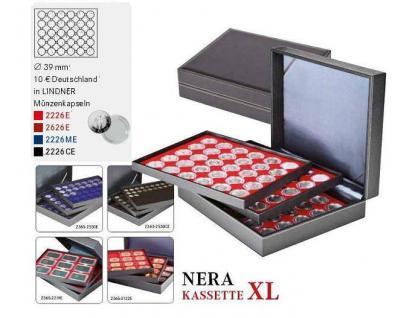 LINDNER 2365-2626E Nera XL Münzkassetten mit 3 Einlagen Dunkelrot Rot für 90 x Münzen bis 39 mm & 10 2 & 0Euro DM in Münzkapseln 33 mm - Vorschau 2