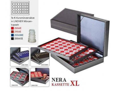 LINDNER 2365-2556CE Nera XL Münzkassetten Einlagen Carbo Schwarz 15 komplette Euro Kursmünzensätze KMS 1 Cent - 2 € in Münzkapseln - Vorschau 2