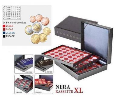 LINDNER 2365-2506E Nera XL Münzkassetten Einlagen Hellrot Rot für komplette 18 Euro Kursmünzensätze KMS 1 Cent - 2 Euro - Vorschau 2