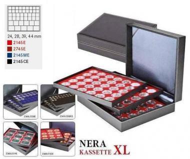 LINDNER 2365-2145CE Nera XL Münzkassetten 3 Einlagen Carbo Schwarz Mixed für 135 x Münzen - 24, 28, 39, 44 mm die Starter Box