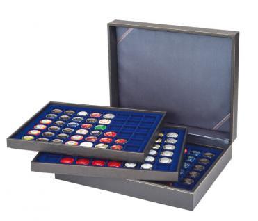 LINDNER 2365-2148ME Nera XL Münzkassetten 3 Einlagen Marine Blau 144 Fächer für Münzen bis 30 x 30 mm - 5 DM Euro Mark DDR