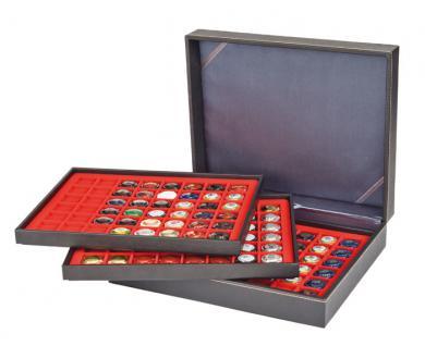 LINDNER 2365-2148E Nera XL Münzkassetten 3 Einlagen Hellrot Rot 144 Fächer für Münzen bis 30 x 30 mm - 5 DM Euro Mark DDR