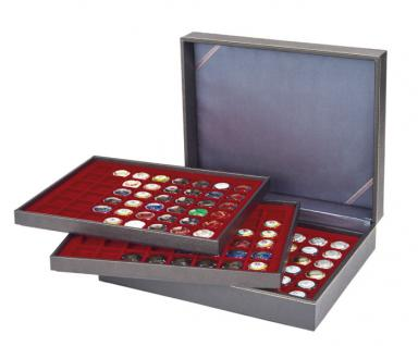 LINDNER 2365-2748E Nera XL Münzkassetten 3 Einlagen Dunkelrot Rot 48 Fächer für Münzen bis 30 x 30 mm - 5 DM Euro Mark DDR