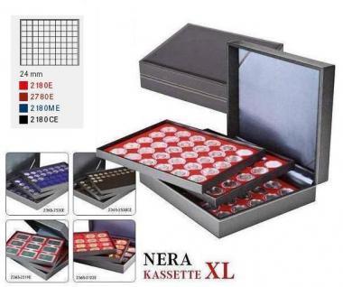 LINDNER 2365-2180CE Nera XL Münzkassetten 3 Einlagen Carbo Schwa 24 Fächer für Münzen bis 24 x 24 mm 1 DM Euro Mark DDR 1 Goldmark - Vorschau 2