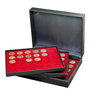 LINDNER 2365-2150E Nera XL Münzkassetten Hellrot Rot 90 Fächer 34 x 34 mm für Frankreich / France Médailles Souvenirs Touristique - Vorschau 1