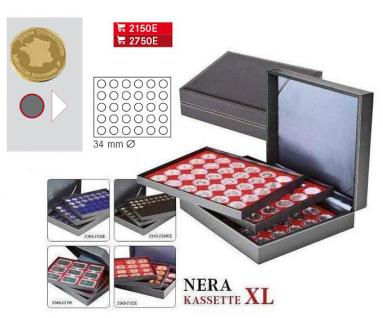 LINDNER 2365-2150E Nera XL Münzkassetten Hellrot Rot 90 Fächer 34 x 34 mm für Frankreich / France Médailles Souvenirs Touristique - Vorschau 4