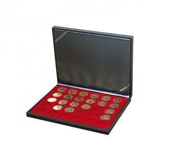LINDNER 2364-2750E Nera M Münzkassetten Dunkelrot Rot 30 Fächer 34 x 34 mm für Frankreich / France Médailles Souvenirs Touristique