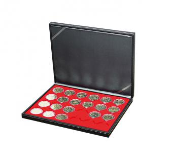 LINDNER 2364-2624E Nera M Münzkassetten Dunkelrot Rot 30 runde Fächer für Roulette Poker Jetons Chips in Kapseln 41 mm - Vorschau 4