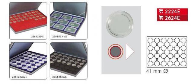 LINDNER 2364-2624E Nera M Münzkassetten Dunkelrot Rot 30 runde Fächer für Roulette Poker Jetons Chips in Kapseln 41 mm - Vorschau 2