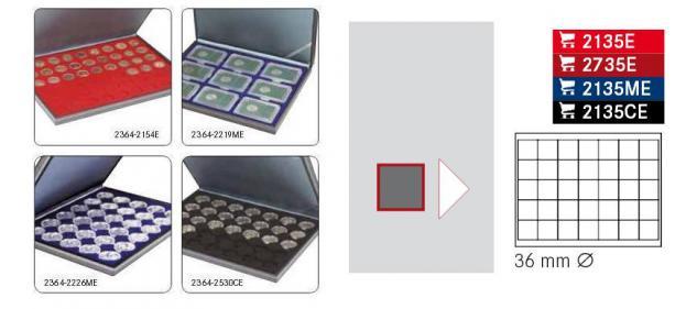 LINDNER 2364-2135ME Nera M Sammelkassetten Marine Blau 35 Quadratische Fächer 36 x 36 mm für Jetons Poker Chips Roulette Casino - Vorschau 2