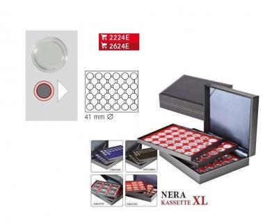 LINDNER 2365-2624E Nera XL Münzkassetten Dunkelrot Rot 90 runde Fächer für Roulette Poker Jetons Chips in Kapseln 41 mm