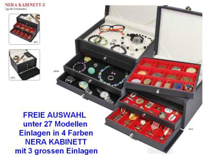 LINDNER 2373 NERA KABINETT Sammelkassetten mit hellem Ablagefach + 3 großen Schubladen in 4 Farben über 27 Modellen FREIE AUSWAHL - Vorschau 1
