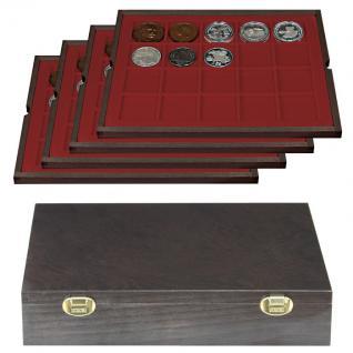 LINDNER 2494-2 CARUS-4 Echtholz Holz Münzkassetten Kassetten 80 quadratische Fächer für Münzen bis 47 x 47 mm & Münzkapseln 41 mm