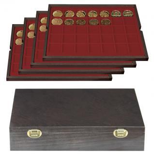 LINDNER 2494-5 CARUS-4 Echtholz Holz Münzkassetten 4 Tableaus 140 Fächer Münzen bis 36 x 36 mm & Münzkapseln 30 mm