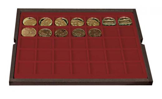 LINDNER 2494-5 CARUS Echtholz Holz Münzkassetten 4 Tableaus 140 Fächer Münzen bis 36 x 36 mm & Münzkapseln 30 mm - Vorschau 4