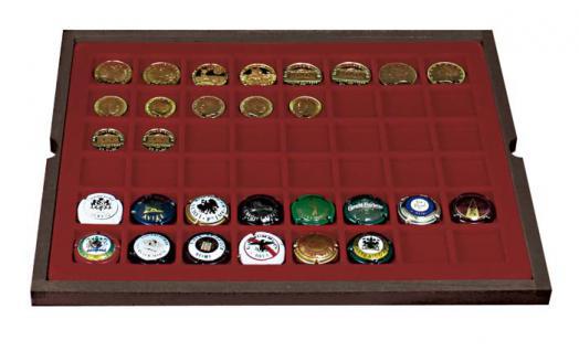 LINDNER 2494-6 CARUS-4 Echtholz Holz Sammelkassetten 4 Tableaus 192 Fächer 30 x 30 mm für Champagnerdeckel Champagnerkapseln Champagner Deckel - Vorschau 4