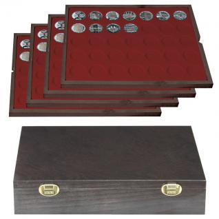 LINDNER 2494-7 CARUS Echtholz Holz Münzkassetten 4 Tableaus dunkelrot 140 Fächer Münzen 32, 5 x 32, 5 mm Deutsche 10 DM - 10 - 20 Euro Gedenkmünzen