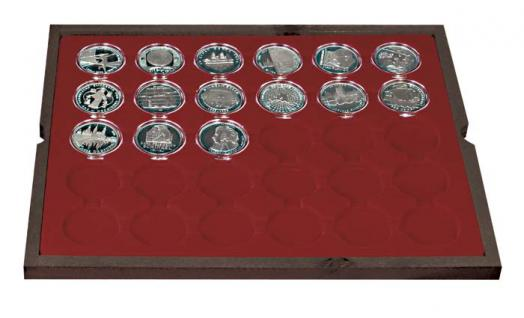 LINDNER 2494-8 CARUS Echtholz Holz Münzkassetten 4 Tableaus 120 Fächer Münzen bis 39 x 39 mm bis Münzkapseln 32, 5 - 33 - 10 Euro - Vorschau 4