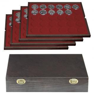 LINDNER 2494-9 CARUS-4 Echtholz Holz Münzkassetten 4 Tableaus dunkelrot 120 Fächer Münzen 37x 37 mm Für 10 DM - 10 - 20 Gedenkmünzen bis Münzkapseln 32, 5 PP original ohne Rand