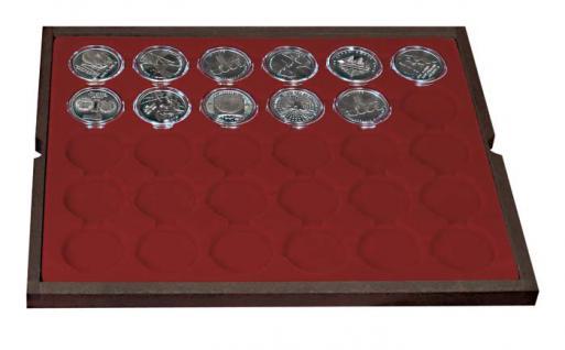LINDNER 2494-9 CARUS Echtholz Holz Münzkassetten 120 Fächer Münzen 37x 37 mm Für 10 DM - 10 - 20 Gedenkmünzen bis Münzkapseln 32, 5 PP original ohne Rand - Vorschau 4