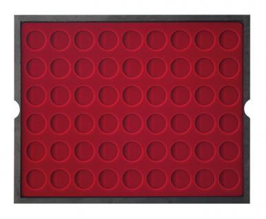 LINDNER 2494-10 CARUS-4 Echtholz Holz Münzkassetten 4 Tableaus dunkelrot 216 Fächer Münzen bis 25, 75 x 25, 75 mm 2 Euro Münzen - Vorschau 4