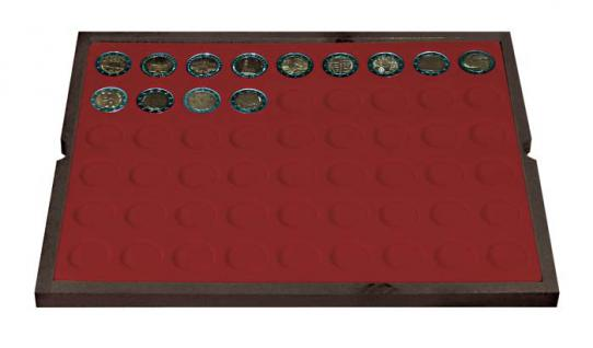 LINDNER 2494-10 CARUS-4 Echtholz Holz Münzkassetten 4 Tableaus dunkelrot 216 Fächer Münzen bis 25, 75 x 25, 75 mm 2 Euro Münzen - Vorschau 3