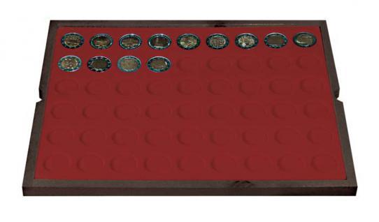 LINDNER 2494-10 CARUS Echtholz Holz Münzkassetten 4 Tableaus 216 Fächer Münzen bis 25, 75 x 25, 75 mm 2 Euro Münzen - Vorschau 3