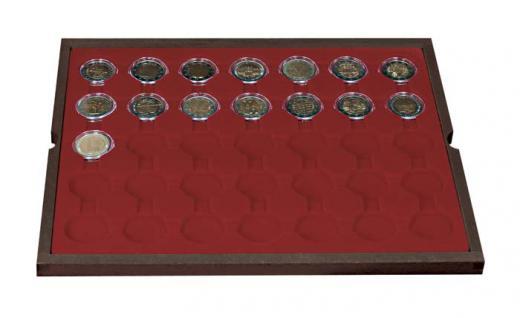 LINDNER 2494-11 CARUS Echtholz Holz Münzkassetten 4 Tableaus 140 Fächer Münzen bis 32 x 32 mm 2 Euro in Münzkapseln 26 - Vorschau 4