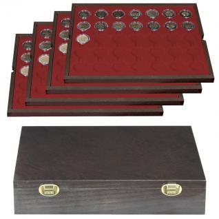 LINDNER 2494-11 CARUS-4 Echtholz Holz Münzkassetten 4 Tableaus dunkelrot 140 Fächer Münzen bis 32 x 32 mm 2 Euro in Münzkapseln 26