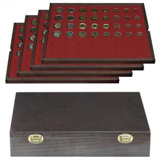 LINDNER 2494-12 CARUS Echtholz Holz Münzkassetten 4 Tableaus für 24 komplette Euro Münzen KMS Kursmunzensätze 1 Cent - 2 Euro - Vorschau 1