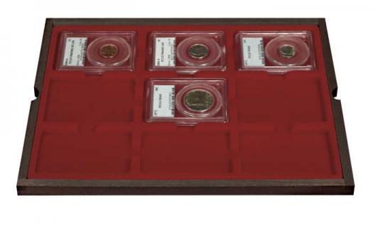 LINDNER 2494-19 CARUS Echtholz Holz Münzkassetten 4 Tableaus 36 Fächer 64 x 86 mm für original US Slabs Münzkapseln - Vorschau 3