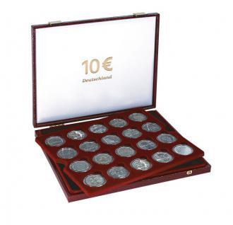 LINDNER 2452 Luxus Kassetten mit 2 Tableaus 40 x 10 Euromünzen Deutschland in Münzkapseln 32, 5