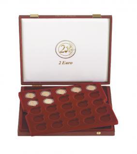 LINDNER 2454 Luxus Kassetten Münzkassetten mit 2 Tableaus 50 x 2 Euro Münzen in Münzkapseln 26