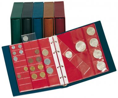 LINDNER 1106M - W Münzalbum Album Karat WEINROT ROT + 10 Münzblättern Mixed + roten Zwischenblättern