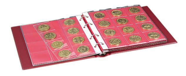 LINDNER 1106M - S Münzalbum Album Karat SCHWARZ + 10 Münzblättern Mixed + roten Zwischenblättern - Vorschau 3