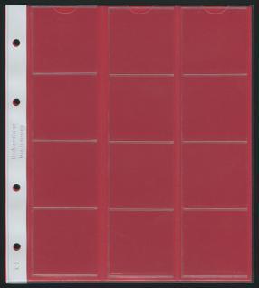 10 x LINDNER K2R Karat Münzblätter Ergänzungsblätter 12 Felder 48 mm Ø mit rote Zwischenblätter / ZWL - Vorschau 1