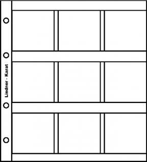 5 x LINDNER K9R Karat Münzblätter Ergänzungsblätter 9 Felder 50 x 50 Münzrähmchen Octo Quadrum Münzkapseln + rotes ZWL - Vorschau 1