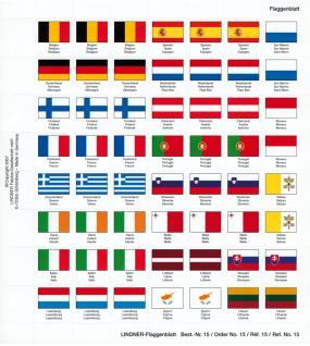 Lindner 15 Perforiertes Flaggenblatt Euro - Länder für Karat K8 Münzblätter zum selbst gestalten