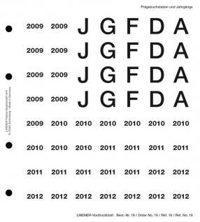 Lindner 18 Perforiertes Vordruckblatt Prägebuchstaben Jahreszahlen 2009- 2012 für K8 Münzblätter zum selbst gestalten - Vorschau 1