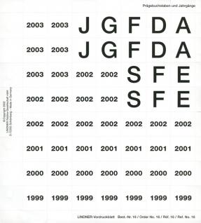Lindner 16 Perforiertes Vordruckblatt Prägebuchstaben Jahreszahlen 1999- 2003 für K8 Münzblätter zum selbst gestalten - Vorschau 1