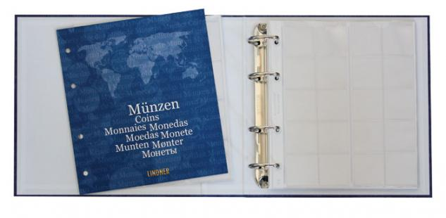 """LINDNER 1116M KARAT Münzalbum Ringbinder """" BASIC"""" + 5 Münzhüllen Karat für 119 Münzen + Kassette - Vorschau 4"""