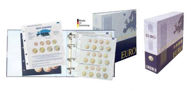 Lindner 1108E Münzalbum Vordruckalbum Euro Kursmünzensätze KMS Alle 19 Euro Länder + Kassette