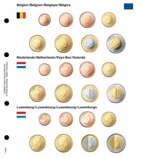 1 x Lindner 1108-1 Karat Vordruckblatt EURO Belgien / Niederlande / Luxemburg für Kursmünzensätze KMS