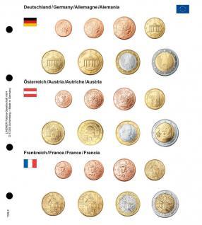 1 x Lindner 1108-2 Karat Vordruckblatt EURO Deutschland / Österreich / Frankreich Kursmünzensätze KMS